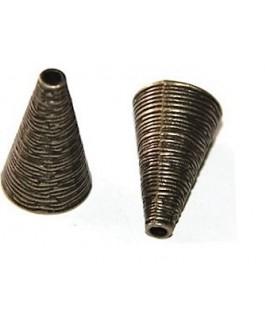 Capuchón rallado bronce metal 25x15mm, paso 3mm
