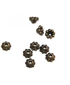 Capuchón mini bronce 5mm paso 1mm, precio por 50 gramos aproximadamente 250 cuentas