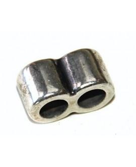 Tubo doble 8x9mm paso 4mm zamak baño de plata, precio por 8 unidades