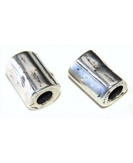 Tubo golpeado 13x10mm paso 4mm zamak baño de plata, precio por 5 unidades
