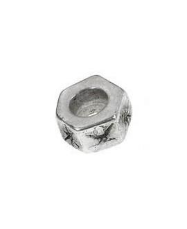 Cuenta hexagonal 9x9mm paso 5mm, zamak baño de plata