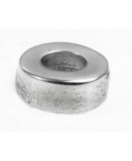 Cuenta 14x6mm agujero 6,5mm zamak baño de plata