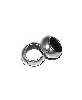 Cuenta barril 10x5mm paso 2mm zamak baño de plata, precio por 10 unidades