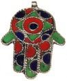 Mano de Fátima Hamsa khamsa, esmalte marroquí, 65x46mm