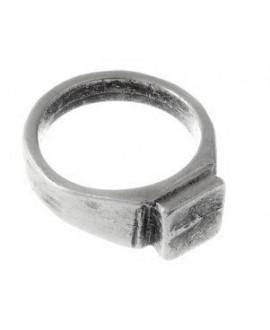 Base anillo talla18 para pegar adorno, zamak baño de plata