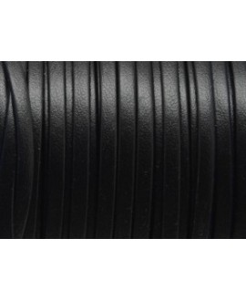 Cuero plano 3mm tira doblada, negro. Calidad superior, precio por metro