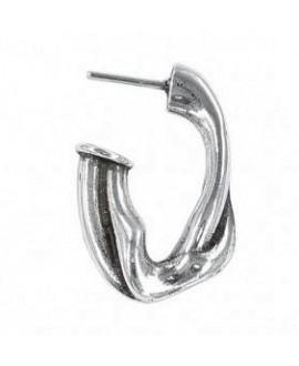 Pendientes aro oval irregular 30x19mm, zamak baño de plata, precio por par