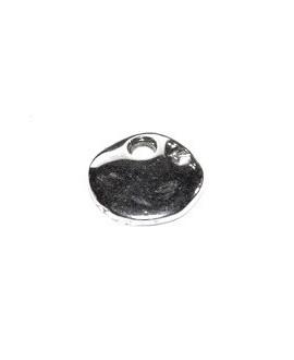 Colgante chapita 12mm, agujero 2.5mm, zamak baño de plata