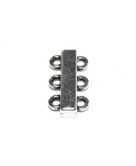 Cierre imán 25x13mm con 3 anillas paso 2mm, zamak baño de plata