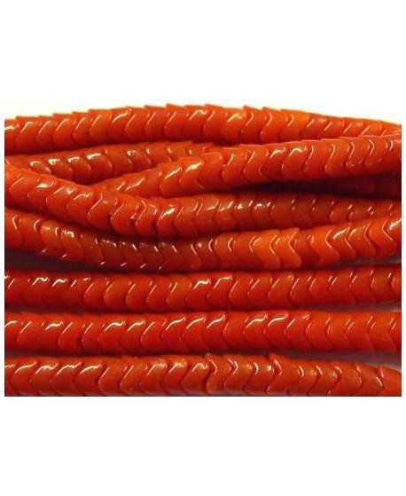 Cuentas serpiente de vidrio rojo  6mm
