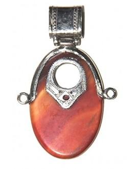 Colgante amuleto tuareg con cornalina del sur de Marruecos, 80x50mm
