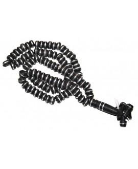 Ébano y plata mala o rosario 12x8mm, paso 2mm