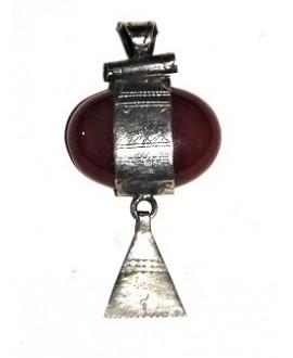 Colgante amuleto tuareg con piedra semi preciosa del sur de Marruecos, 58x30mm paso 5mm