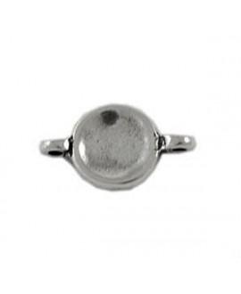 Entre-pieza moneda 2 anillas 15mm, paso de 2mm, zamak baño de plata