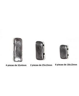 Entre-pieza irregular paso 1mm, zamak baño de plata, precio por 12 piezas (pulsera completa)