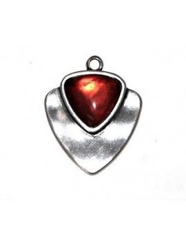 Colgante 41x38,41mm, resina rojo/zamak baño de plata