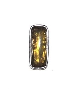 Colgante 29x13mm paso 3mm, resina amarillo/zamak baño de plata