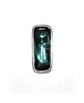 Colgante 29x13mm paso 3mm, resina esmeralda/zamak baño de plata