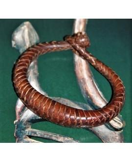 Pulsera cuero tejido de  Malí 19-20 cm, marrón