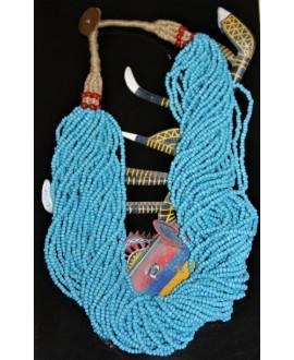 Collar Masai azul 29 hilos, 65 cm
