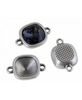 Entrepieza 13x19mm sin piedra para Swarovski 4470-10mm paso 1,3mm, zamak baño de plata