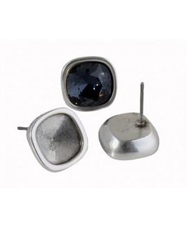 Pendiente 13x13mm sin piedra para Swarovski 4470-10mm, zamak baño de plata, precio por par