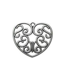 Colgante corazón 55mm, zamak baño de plata