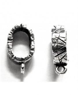 eslabón rallado regaliz 10x6mm, anilla 2mm, baño de plata