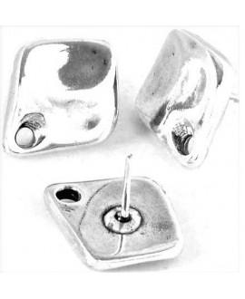 Pendientes 17,5x15mm paso 2mm, zamak baño de plata, precio por par