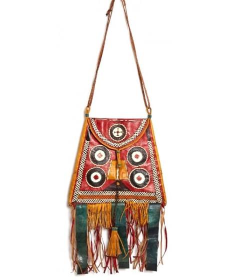 Bolso de cuero Tuareg, Malí, 28x22-32 cm
