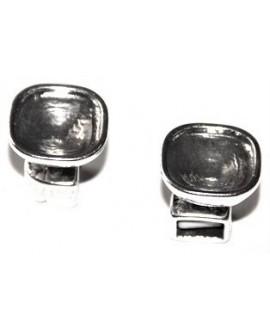 Cierre botón, 9 X 5 mm, cabujon de 16 mm, zamak baño de plata