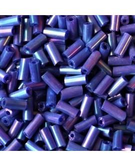 Abalorio tubo azul irisado 3mm, precio por 20gr