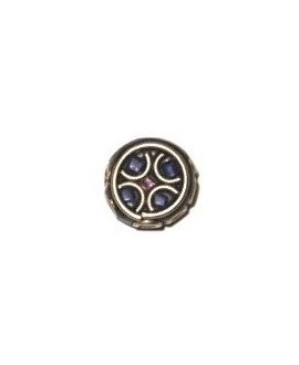 Cuenta  Tibetana bronce, lapislázuli y coral  13x16mm paso 1mm.