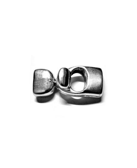 Cierre botón 30x18mm, paso 10x2mm, zamak baño de plata