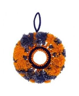 Colgante/medallón con espejo 11,5cm, naranja-azul