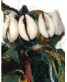 Gran borla, mezcla de tela e hilo con conchas, 16cm