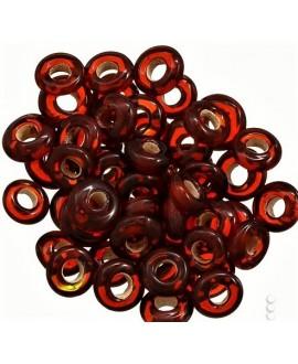 Rondel cristal indio rojo oscuro 7x4mm paso 2mm, precio por 50 unidades