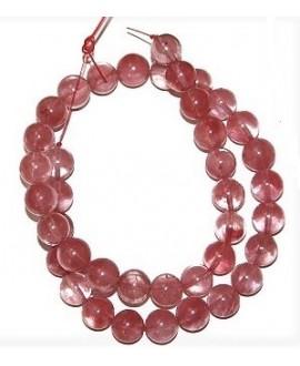Cuentas jade rosa 10mm paso 1mm, precio por ristra 40 cm