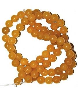 Cuentas jade amarillo 10mm paso 1mm, precio por ristra 40 cm