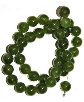 Cuentas jade verde 12mm paso 1mm, precio por ristra 60 cm