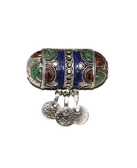 Colgante esmalte marroquí ( berebere ) con monedas, 70x65mm, paso 3mm