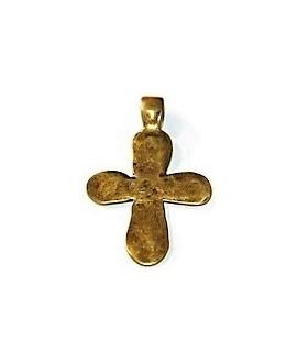 Colgante cruz bronce irregular, 60x40 mm, paso 4mm