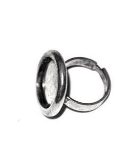 Anillo ajustable  baño de plata, para cabujón  de 18mm
