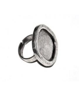 Anillo ajustable de peltre baño plata, para cabujón 25X10 mm