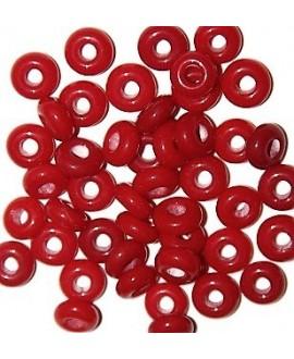 Cuenta cristal de murano opaco, plano y redondo rojo 8x4mm paso 3mm, precio por 25 unidades, hecho a mano