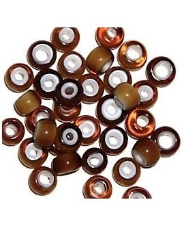 Cuentas de Lampwork hechas a mano ámbar 6,5/8,5x5/6mm paso 2mm, precio por 20 unidades, hecho a mano