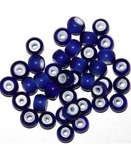 Cuentas de Lampwork hechas a mano azulón 6,5/8,5x5/6mm paso 2mm, precio por 20 unidades, hecho a mano