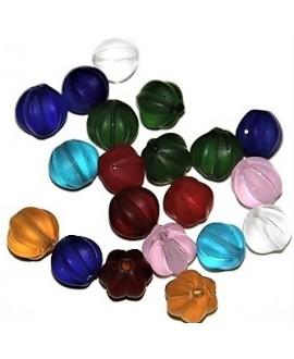 Cuenta cristal de murano esmerilado mix 10mm paso 2mm, precio por 20 unidades, hecho a mano