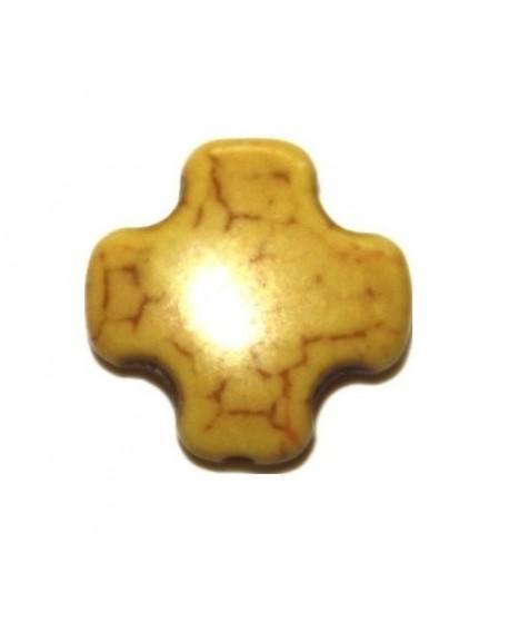 Howlita cruz mini amarillo 15mm, paso 1mm
