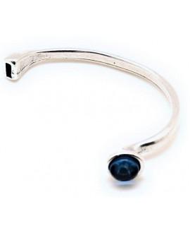 Media pulsera paso 5x2mm, zamak baño de plata/resina azul
